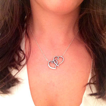 Double Heart Necklace, Two Love Heart Necklace, Silver Heart Necklace, Two Hearts One Love Necklace, Silver Necklace, Silver Double Heart