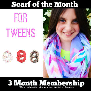 Scarf of the Month - 3  Month Subscription Package for Tweens