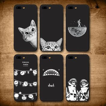 IIOZO Case For iphone 7 8 8plus Cute Cat Space Moon Cat Man Pandas Shark Animal black Phone Cases Cover for iphone 8 Case
