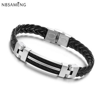 2016 New Arrival Mens Bracelets & Bangles Titanium Steel Silicone Rubber Bands Leather Bracelet Pulseira Men Jewelry YK2050