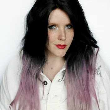 SALE Ombre Lace Front wig. Long Black wig. Straight Purple Scene wig. Cosplay wig. Layered Hipster wig // Black Amethyst
