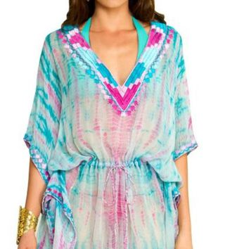 Chiffon Turquoise Pink Color Hand Tie Dye Silk Embroidered Beach Cover up Kaftan Caftan Dress