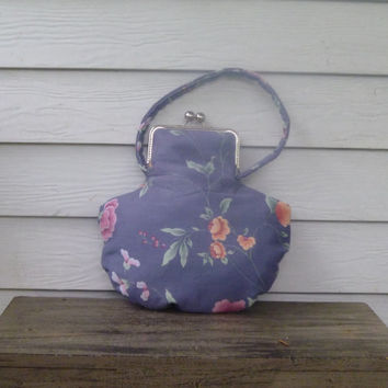 Fabric Floral Round Bottom Purse with Metal Frame