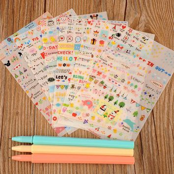 6 Sheets Korean Notebook Album Calendar Memo Message Diary Notes Memo Deco Paper Sticker Adhesive Clear Glass Tape BOOK StickerS