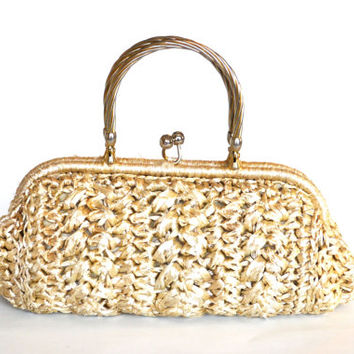 1950s Ritter Raffia Straw Purse Made in Italy Its in the Bag