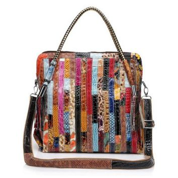 44cm patchwork real leather bags Women Handbag Casual Large Capacity Adjustable handle Totes Colorful Snake unique handtas