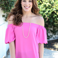 The Charlotte Off The Shoulder Top - Pink