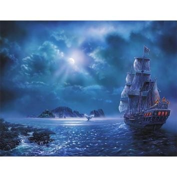 5D Diamond Painting Ship in the Moonlight Kit