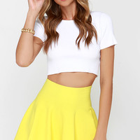 Ice Cream Sundays Yellow Knit Skater Skirt