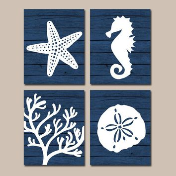 Beach BATHROOM Wall Art,Nautical CANVAS or Prints,Nautical Nautical Bath Decor,NAVY Starfish Seahorse,Coral Reef,Wood Plank Design,Set of 4