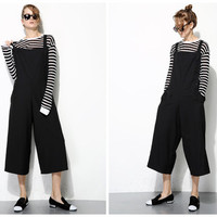 black overalls for women,crop length,casual,preppy style,fashion,made from wool,minimalist,for summer,spring,autumn.--E0286