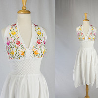Vintage Mexican Sun Dress Embroidered Halter Sundress Summer Beach Wedding Dress Fairy Hem