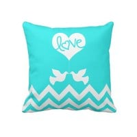 Personalized Love Doves with chevron (mint blue) Pillow from Zazzle.com