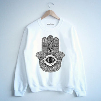 Hamsa hand henna design muscle tank crewneck sweater t shirt white tumblr blanc unisexe unisex 5sos harry styles one direction tumblr tee