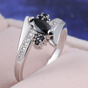 Women's Fashion 18k white gold filled CZ Crystal Black Rhinestone Ring Gothic Punk Retro Rock Chic Black Big Faceted Gemstone Ring Best Gift Size7-9 = 1946110980