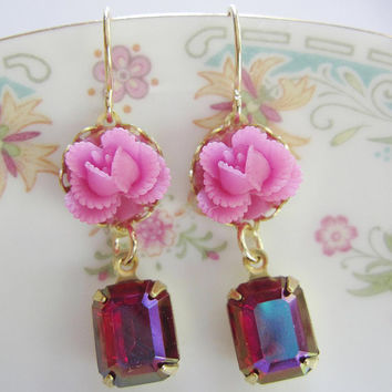 Bridesmaid Earrings - Pink Flower Earrings with Fuchsia Rectangle Vintage Glass - Summer Dangle  - Wedding Jewelry