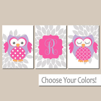 GIRL OWL Wall Art, Canvas or Prints, Baby Girl Nursery Artwork, Girl Bedroom Pictures, Pink Purple Flower Burst, Set of 3, Above Crib Decor