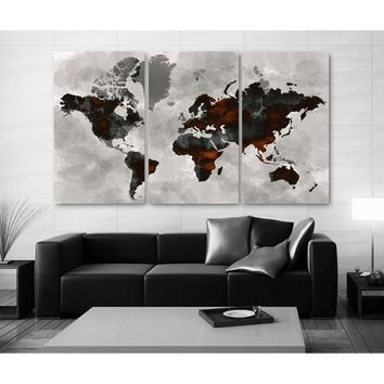 3 Panels Large Size Beautiful Watercolor Vintage World Map Decoration Modern Creative Painting Picture Art Picture Modern Home D