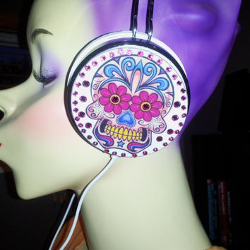 Sugar Skull Headphones with Pink swarovski  crystals