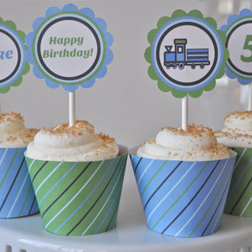Train Birthday Party Printable Cupcake Toppers