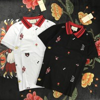 GUCCI whole body embroidery POLO shirt