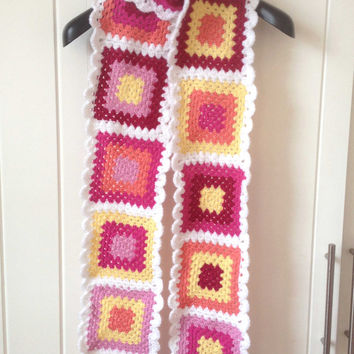 Extra Long Scarf, Hand Crocheted Granny Square Neck Warmer in Pink and Yellow, Retro Style Scarf, 7 ft long, Over 2 Meters, Bright winter