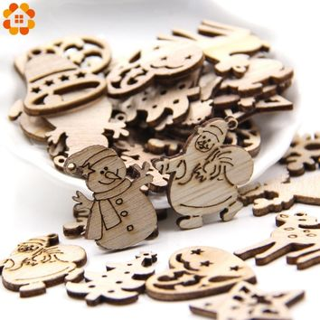 50PCS DIY Natural Wooden Chip Christmas Tree Hanging Ornaments Pendant Kids Gifts Snowman Tree Shape Xmas Ornaments Decorations