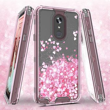 LG Stylo 5 Case,Hard Clear Glitter Sparkle Flowing Liquid Heavy Duty Shockproof Three Layer Protective Bling Girls Women Cases for LG Stylo 5 - Pink