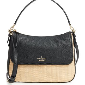 kate spade new york jackson street - colette straw & leather satchel | Nordstrom