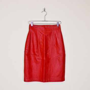 Vintage 80s Wilsons Red Leather Skirt High Waist Skirt Mini Skirt Pencil Skirt Wiggle Skirt Body Con Bodycon Motorcycle Skirt Biker Skirt S