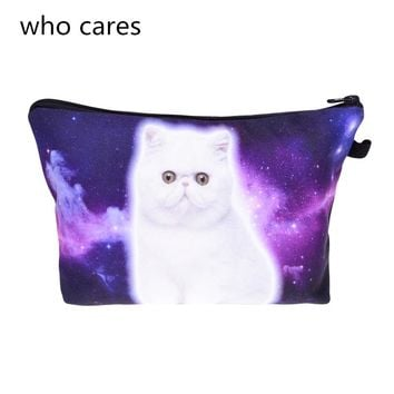Who cares New Women Neceser Portable Make Up Bag 3D Print Galaxy Cat Organizer Bolsa feminina Travel Toiletry Bag Cosmetic Bag