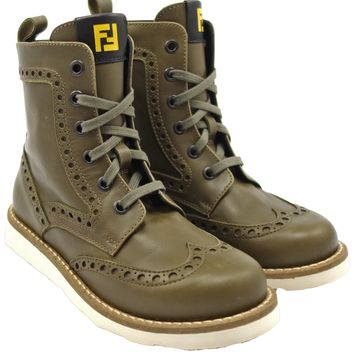 Fendi Boys Olive Green Lace-Up Boots with Zipper