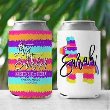 Custom Drink Holder, Can cooler, Fiesta Themed, Let's Get Smashed, Personalized Party Favor, Custom Can Cooler - Can Insulator, Insulator