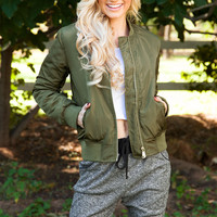 Glory Days Bomber Jacket - Olive
