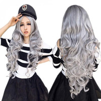 Women Stone Gray Long Curly Wavy Hair Cosplay Wig