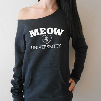 Meow Universkitty. Eco Off Shoulder Sweatshirt. Heather Gray. Charcoal Gray. Black. Pink. White. MEOW Universkitty. Slouchy Sweater.