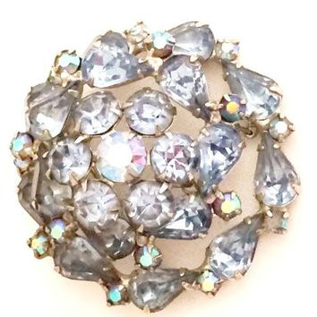 Weiss Vintage Jewelry Blue Crystals Brooch Pin