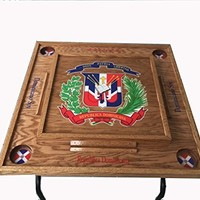 Domino Table with Dominican Republic Escudo -Dark Walnut