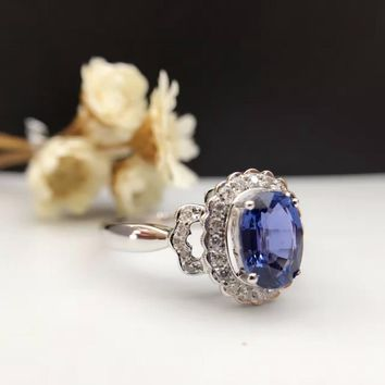 Solid 18K Gold 1.259ct Genuine Sapphire Women Ring 0.142ct Diamond Encrusted Wedding Engagement Ring sapphire-jewelry