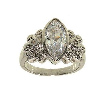 Large Bezel Set Marquis Single Stone Ring with Flower Detail Sides in Genuine Cubic Zirconia