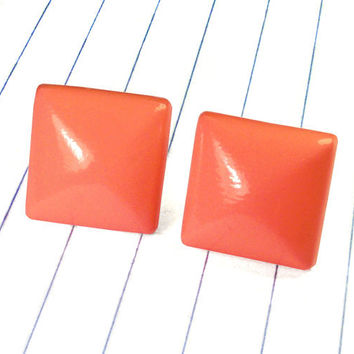 coral square earrings - coral earrings - coral studs - coral jewelry - coral - coral bridesmaid - coral wedding - square earrings