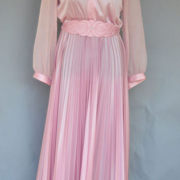 1980 Grecian Effervescent Evening Dress/ Vintage Mother of the Bride Floor Length Dress Size L to XL