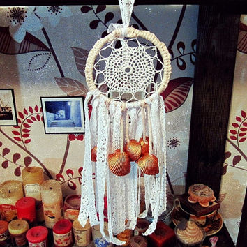 Bohemian Dreamcatcher - Goldie - Small Dream Catcher with Seashells - Made To Order- Boho Wall Hanging Dream Catcher - Bedroom Decor