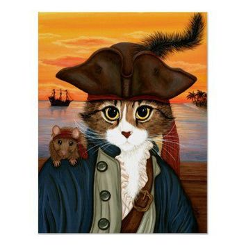 Captain Leo, Pirate Cat  Rat Fantasy Art Poster from Zazzle.com