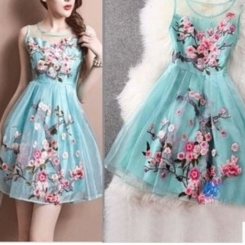 Summer Dress Fashion Handmade Organza Embroidery Summer Style Women Plus size XXXL 4XL Party Dresses O-Neck Wedding Dress = 1958293636