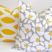 Decorative Pillows.Yellow.Gray.SET of TWO18x18 inch.Decorator Pillow Covers.Printed Fabric Both Sides.Cushion Covers