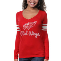 Detroit Red Wings '47 Brand Women's Home Run Relaxed Fit Long Sleeve T-Shirt – Black