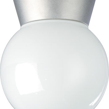 "8"" Utility Light, Outdoor Ceiling Light with White Glass Globe"