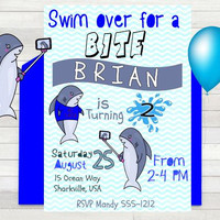 Shark Birthday Party Invitation - Shark Party Invite - Shark Party - Shark Pool Party - PRINTABLE - Summer Invitation - Boys Party Invite