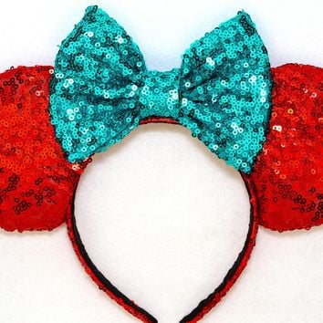The Little Mermaid - Red Sequin Ears and Teal Bow
